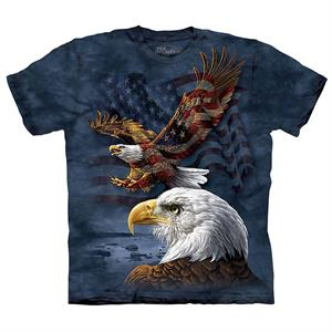 T-shirt med USA flag og to ørne