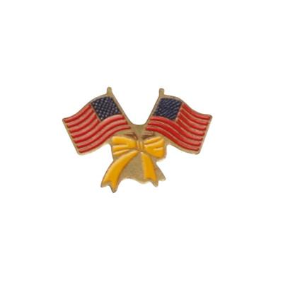 Support Troops pin med twin USA flag