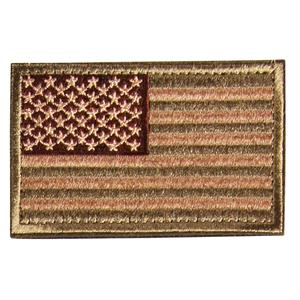Velcro patch med USA flag i beige, brun og army