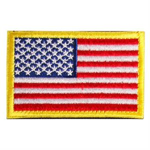 Velcro patch med USA flag og gul kant