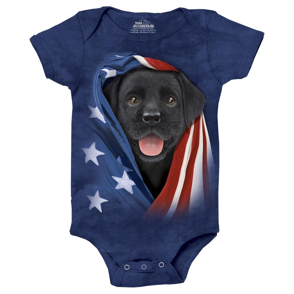 f740c0e5470 Baby body med USA flag og Labrador hundehvalp fra The Mountain