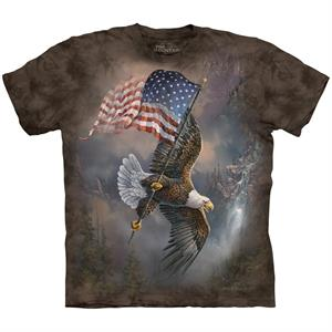 The Mountain T-shirt med en flyvende Ørn og USA flag, brun