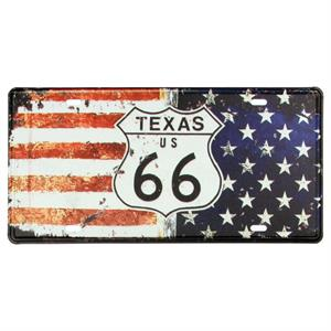 Stars and Stripes Nummerplade med Texas Route 66 skilt