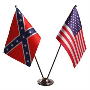 Confederate og Stars & Stripes Dobbelt Bordflag