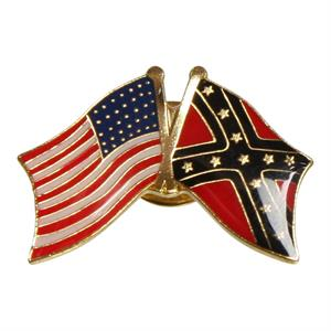 Pin med krydsende USA flag og Rebel flag