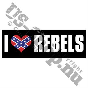 I love Rebels Klistermærke med Rebel flag hjerte