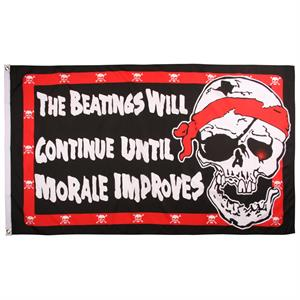 "Pirat Flag ""The Beatings Will Continue Until Morale Improves"", 90 x 150 cm"