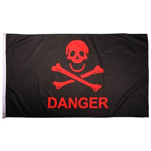 Piratflag 90 x 150, sort og rød, Danger
